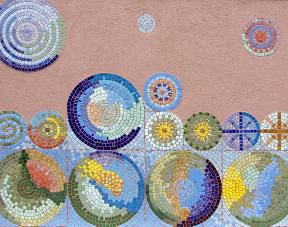 mosaic art with circular shapes